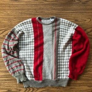 VINTAGE Houndstooth Mohair Blend Oversized Sweater